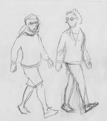 walking and talking and drawing words pictures humor